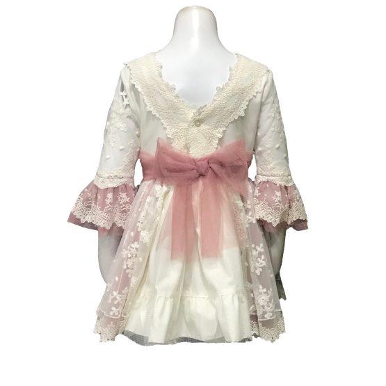 Dolce Petit vestido rosa tul bordado espalda