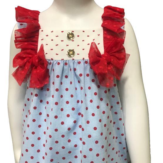 Dolce Petit vestido azul con topos y lazos rojos