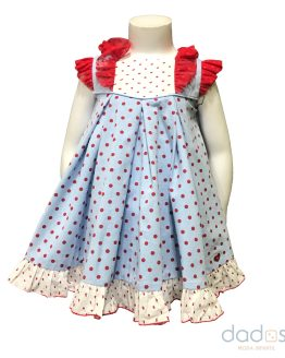 Dolce Petit vestido y braguita azul y topos rojos