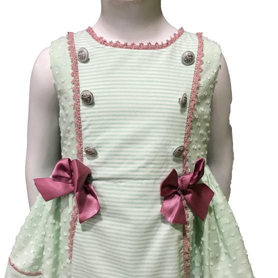 Dolce Petit vestido verde agua con lazos detalle