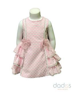 Dolce Petit vestido y braguita rosa de rayitas