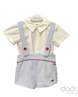 Dolce Petit conjunto celeste rayas pantalón corto y blusa