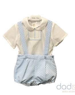 Dolce Petit conjunto pantalón celeste y blusa con cenefa