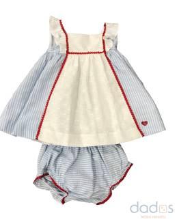 Dolce Petit vestido celeste rayas y braguita