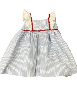 Espalda Dolce Petit vestido celeste rayas y braguita