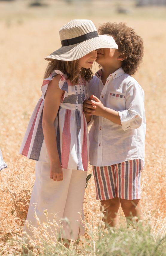 Catálogo José Varón conjunto niño pantalón rayas y camisa