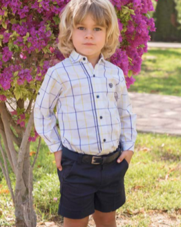 Dolce Petit conjunto niño bermuda marino y camisa cuadros catálogo