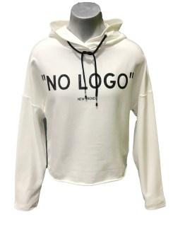 """Elsy sudadera blanca con capucha """"No logo"""""""