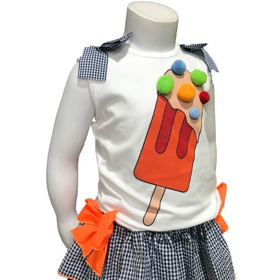 Mon Petit Bonbon conjunto camiseta helado y braga vichy detalle