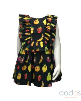 Mon Petit Bonbon vestido negro de frutas