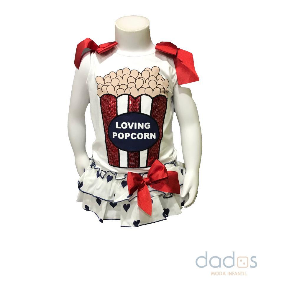 Mon Petit Bonbon conjunto braga corazones y camiseta palomitas