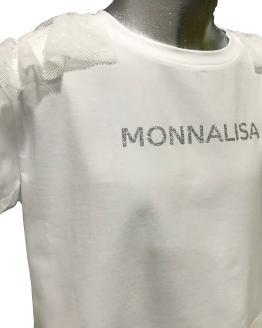 Detalle Monnalisa camiseta corta blanca volante tul