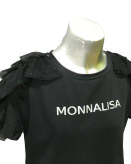 Detalle Monnalisa camiseta corta negra volante tul