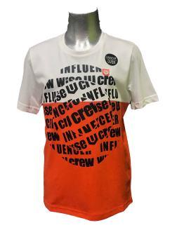 IDO camiseta chico blanca y roja círculo de letras