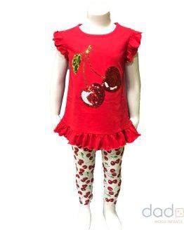 IDO conjunto legging y camiseta cerezas