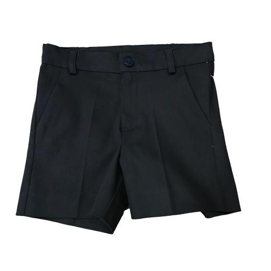 Detalle pantalón Dolce Petit conjunto niño bermuda marino y camisa cuadros
