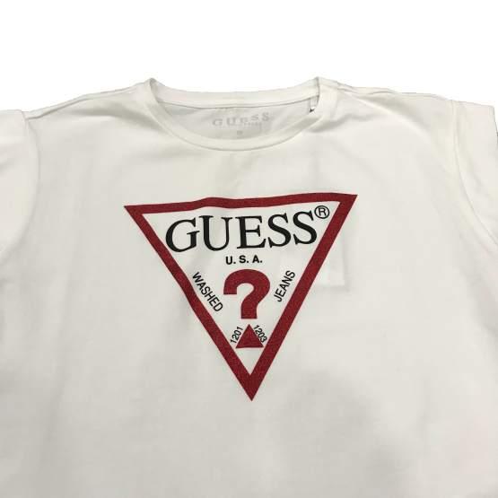 Detalle GUESS camiseta sin mangas logo brillo
