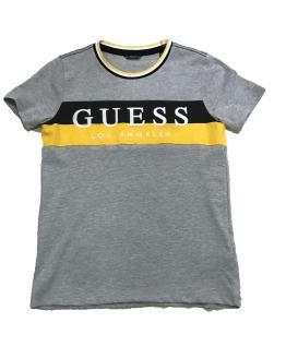 Guess camiseta chico gris franja bicolor amarillo
