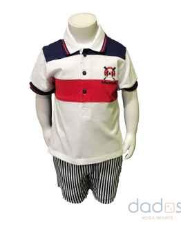 Tutto Piccolo conjunto pantalón y polo tricolor