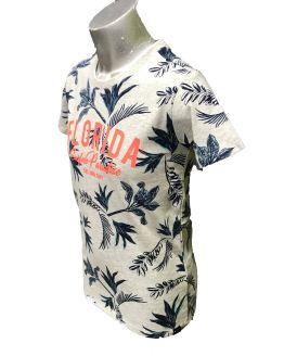 Vista lateral Cars Jeans camiseta estampado palmeras Florida