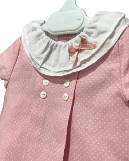 Detalle Micolino jesusito rosa con topitos