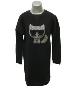 Karl Lagerfeld vestido negro gato brillo