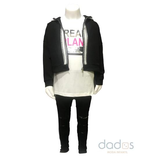 IDO conjunto 3 piezas legging rotos, camiseta lentejuelas y sudadera capucha