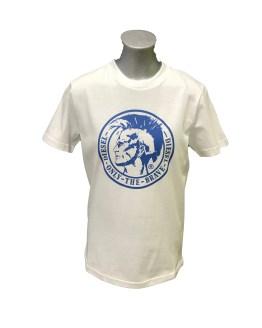 Diesel camiseta blanca logo azulón