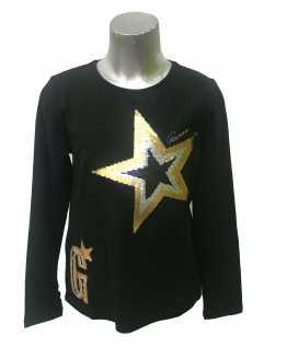 Guess camiseta chica negra estrellas lentejuelas