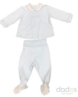 Tutto Piccolo traje celeste 2 piezas cuello blanco