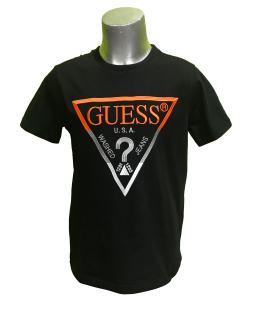 Guess camiseta negra chico logo bordado