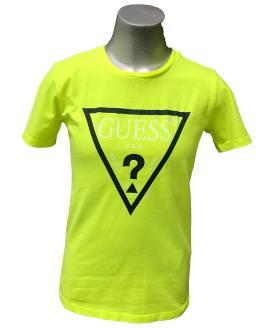 Guess camiseta chico amarillo fluor