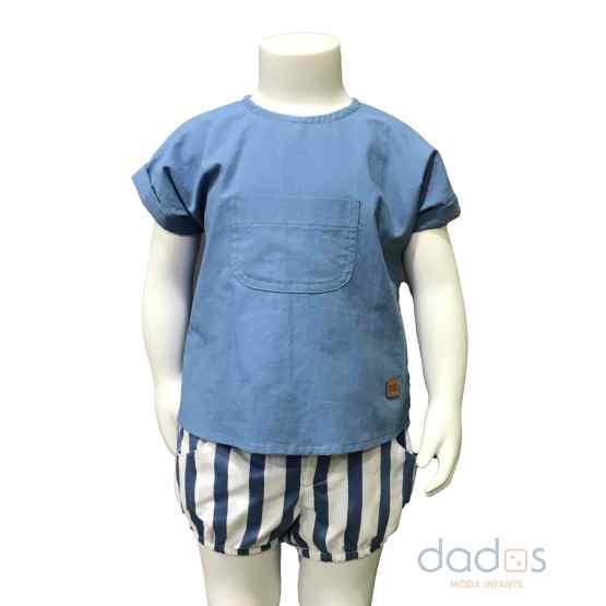 José Varón casual conjunto bebé niño rayas azul