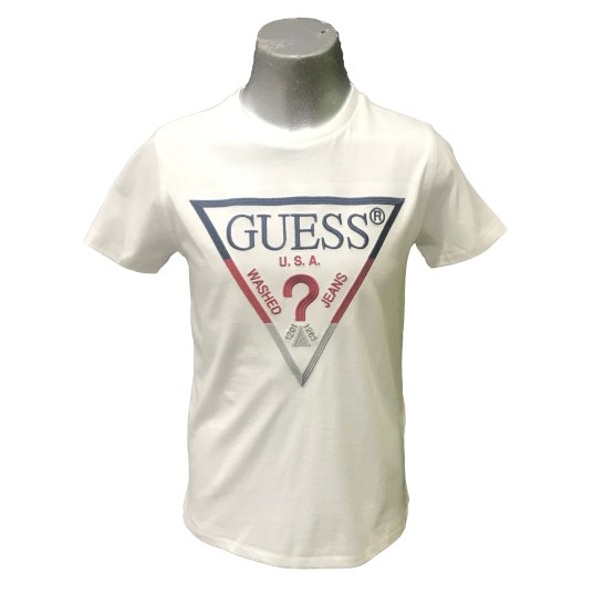 Guess camiseta blanca chico logo bordado