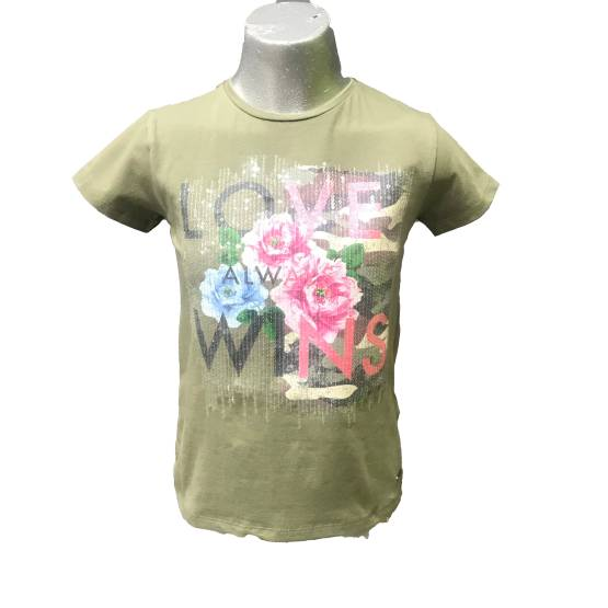 Guess camiseta chica verde kaki flores