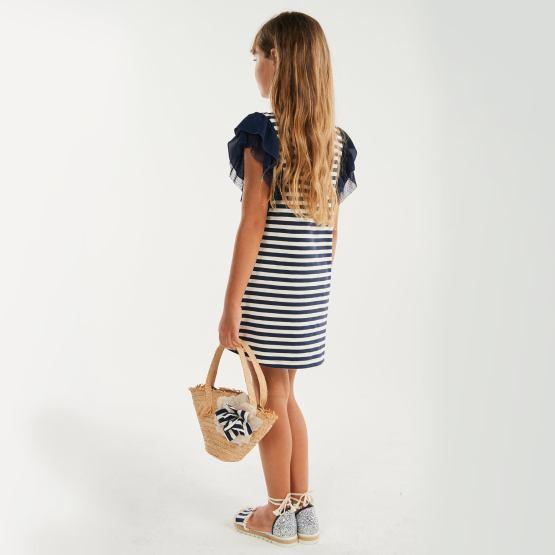 Look Elsy vestido rayas azul marino