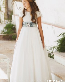 Amaya vestido comunión flores azules