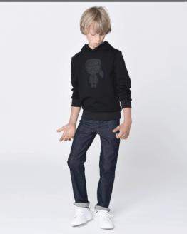Karl Lagerfeld sudadera chico negra dibujo