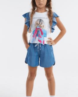 Elsy camiseta volantes en manga y lazo estampado