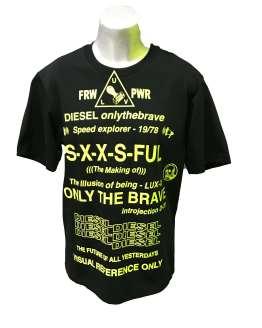 Diesel camiseta chico negra letras fluor
