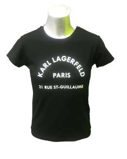 Karl Lagerfeld camiseta chica negra logo letras