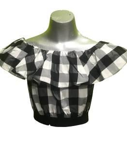 Elsy blusa cuadros negro y blanco