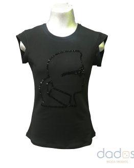 Karl Lagerfeld camiseta chica negra cara