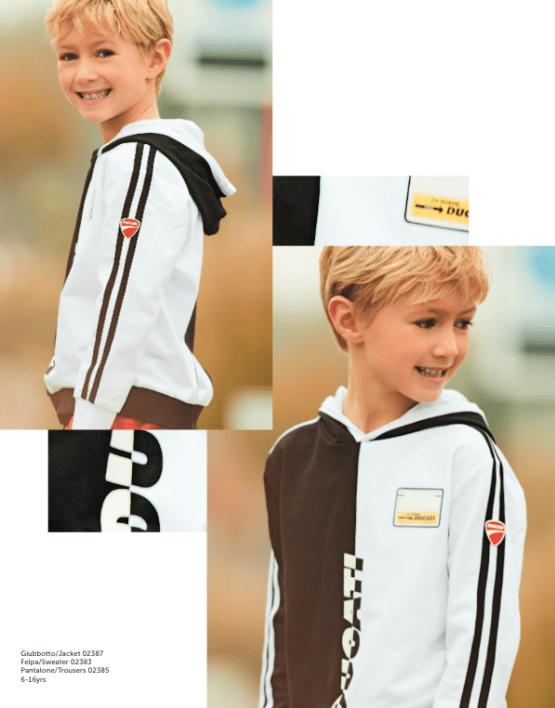 catálogo Sarabanda colección Ducati sudadera chico capucha bicolor