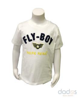 Ido camiseta niño blanca bordado azul FLY