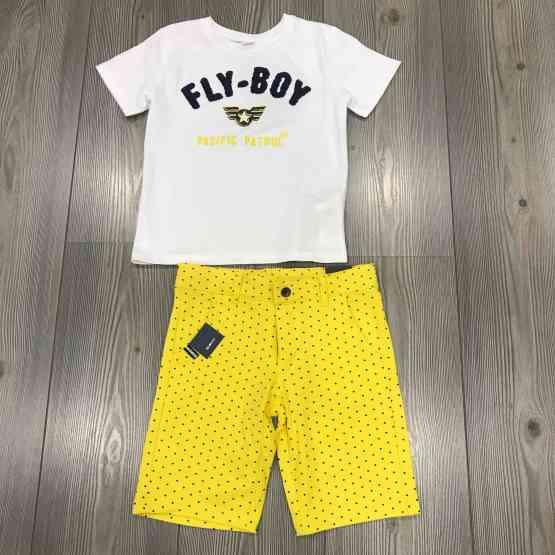Propuesta conjunto Ido camiseta niño blanca bordado azul FLY