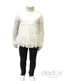 Ido conjunto legging gris camiseta blanca volantes