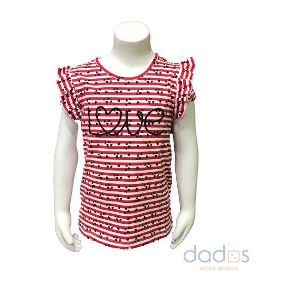 Ido camiseta niña rayas rojas Love
