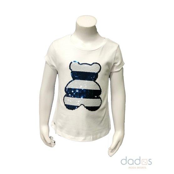 Sarabanda camiseta niña blanca oso lentejuelas