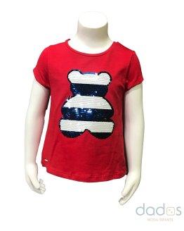 Sarabanda camiseta niña roja oso lentejuelas
